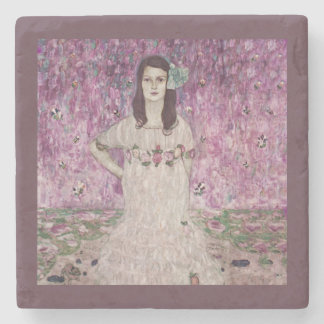 Young Woman and Pink Flowers Stone Coaster