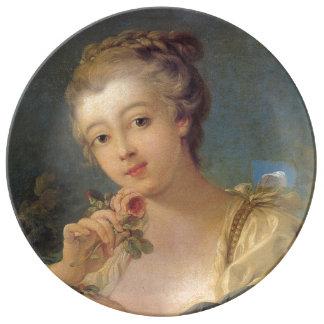 Young Woman Bouquet of Roses by Francois Boucher Porcelain Plates