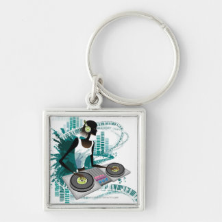 Young woman Dj Using Turntable in Nightclub Keychain
