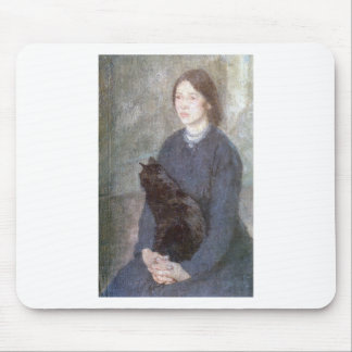 Young Woman Holding a Black Cat - Gwen John Mouse Pad