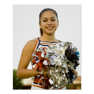 Young woman in cheerleading uniform poster