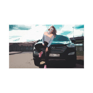 Young Woman Leaning on a Black SUV Car Canvas