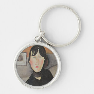 Young Woman of the People Silver-Colored Round Keychain