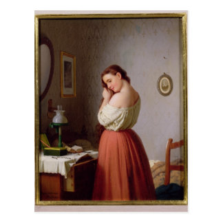 Young Woman Plaiting her Hair Postcard