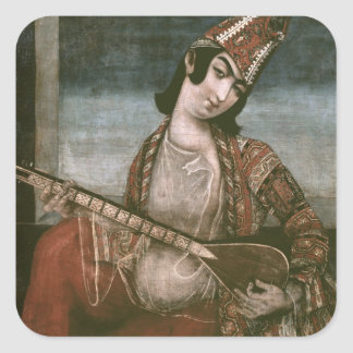 Young Woman Playing a Guitar Square Sticker