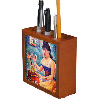 Young Woman Powdering Herself Desk Organizer