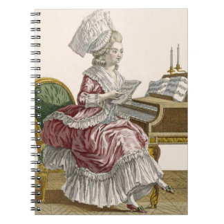 Young Woman Studying Music at her Harpsichord, pla Spiral Notebooks