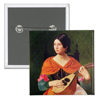 Young Woman with a Mandolin, 1845-47 2 Inch Square Button