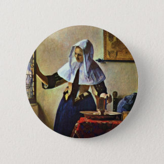 Young Woman With A Water Pitcher.,  By Johannes Ve 2 Inch Round Button