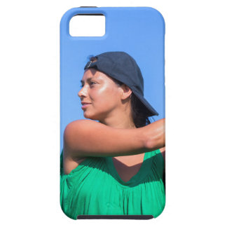 Young woman with baseball bat and cap iPhone 5 cases