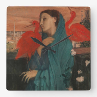 Young Woman with Ibis Square Wall Clock