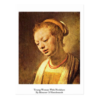 Young Woman With Necklace By Manner Of Rembrandt Postcard