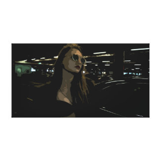 Young Woman with Sunglasses in a Garage Canvas