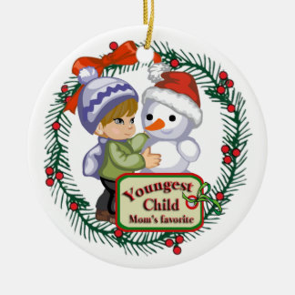 Youngest Child (Brunette Hair) Ceramic Ornament