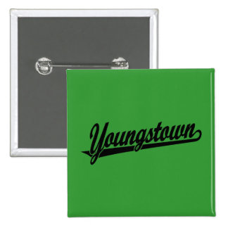Youngstown script logo in black pinback buttons