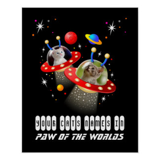 Your 2 Cats in an Alien Spaceship UFO Sci Fi Scene Poster