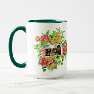 Your 2 Photos in Flower Frame Mug