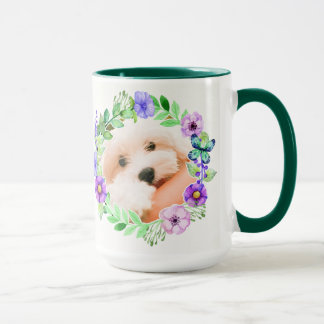 Your 2 Photos in Flower Frame mugs