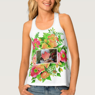 Your 2 Photos in Flower Frames tank top