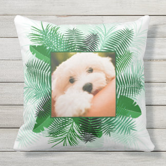 Your 2 Photos in Palm Leaf Frames throw pillow