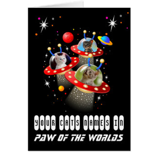 Your 3 Cats in an Alien Spaceship UFO Sci Fi Scene Card