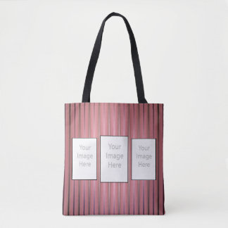 Your 3 Custom Photos with Modern Pink Stripes Tote Bag