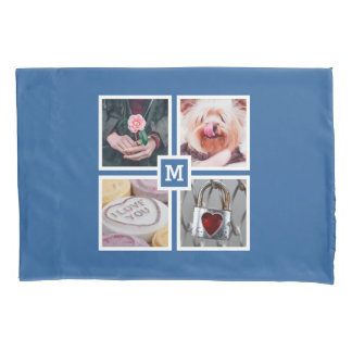 YOUR 4 PHOTOS & MONOGRAM reversible pillow case
