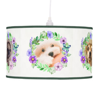 YOUR 5 PHOTOS / Cute Dogs in Flower frames lamp