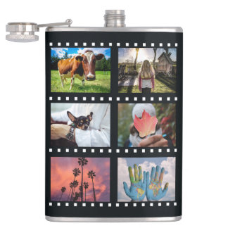 """YOUR 8 PHOTOS in """"film strips"""" custom flask"""
