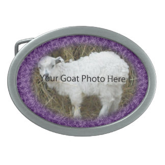 YOUR Abstract Purple Goat Photo Here  Belt Buckle