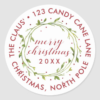 Your Address Here | Christmas Watercolor Wreath Classic Round Sticker