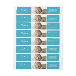 Your Baby Boy Photo Blue Return Address Wrap Around Label