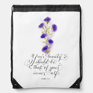Your Beauty inspirational typography verse Drawstring Bag