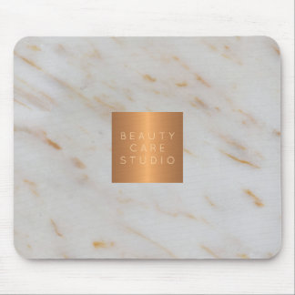 Your business name copper metallic grey marble mouse pad