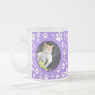 Your Cat Memorial Photos Paw Prints Purple Frosted Glass Coffee Mug