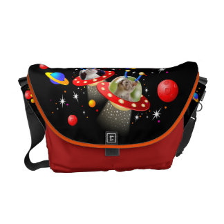 Your Cats in an Alien Spaceship UFO Sci Fi Scene Courier Bags