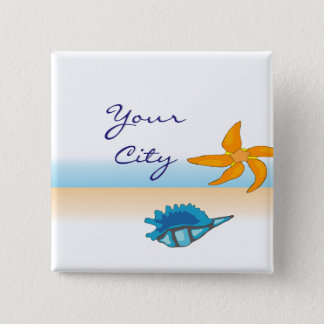 Your City Ocean Seaside 2 Inch Square Button