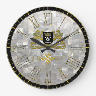 Your Coat of Arms Monogram Mother of Pearl Large Clock