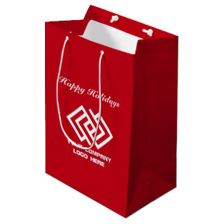 Your Company Holiday Party Logo Gift Bag Medium R