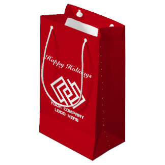 Your Company Holiday Party Logo Gift Bag Small Red