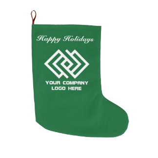 Your Company Logo Happy Holidays Green Large Christmas Stocking