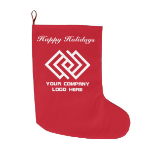 Your Company Logo Happy Holidays Red Large Christmas Stocking