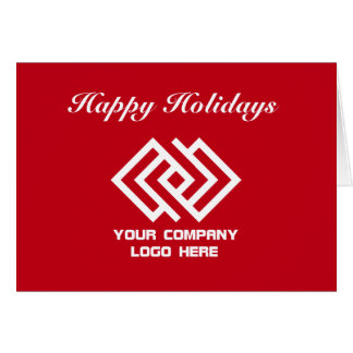 Your Company Logo Holiday Greeting Note Card Red