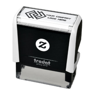 Your Company Logo Self-Inking Stamp Black & White