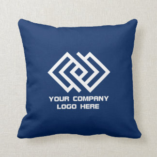 Your Company Logo Throw Pillow Blue or Pick Color