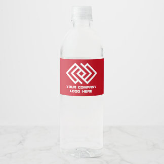 Your Company Logo Water Labels Red