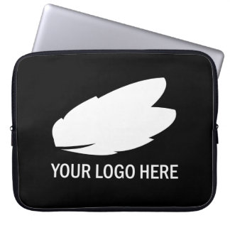 Your company logo white on black promotional laptop computer sleeves