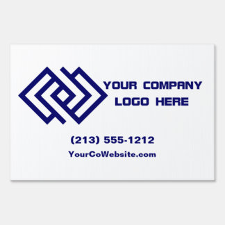 Your Company Logo Yard Sign White or Pick Color L