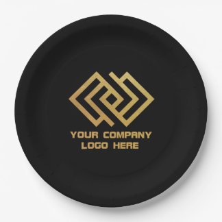 """Your Company Party Logo 9"""" Paper Plates Black"""