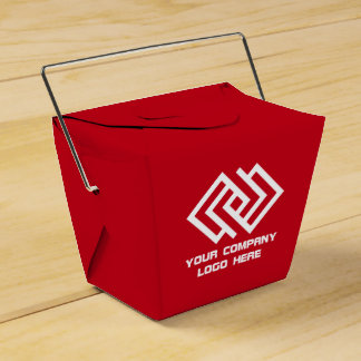 Your Company Party Logo Favor Box Red Takeout